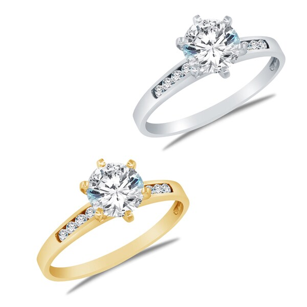Alyssa Jewels 14k Gold Round Cubic Zirconia Engagement-style Ring