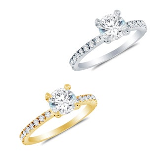 Alyssa Jewels 14k Gold 1.4 mm Round Cubic Zirconia Engagement-style Ring