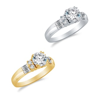 Alyssa Jewels 14k Gold Round/ Baguette Cubic Zirconia Engagement-style Ring