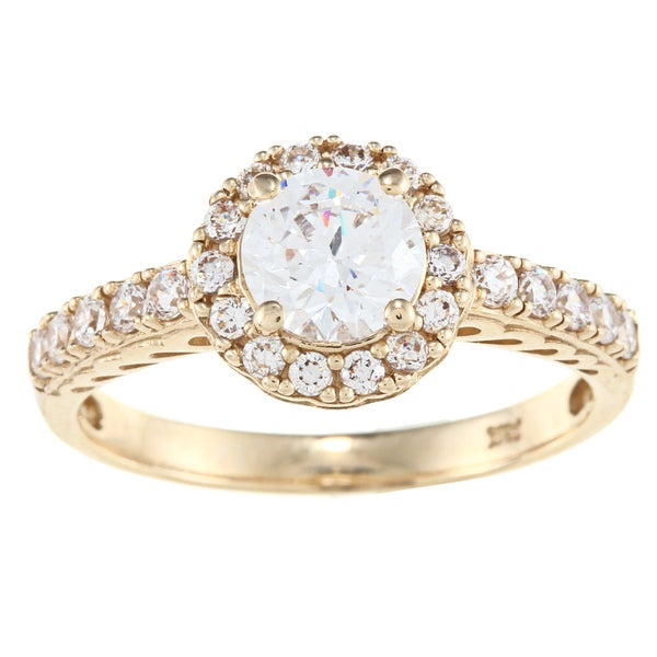 Alyssa Jewels 14k Yellow Gold 1 1/2ct TGW Round Clear Cubic Zirconia Engagement-style Ring