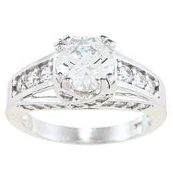 Alyssa Jewels 14k White Gold 2 1/2ct TGW Prong-set Clear Cubic Zirconia Engagement-style Ring