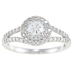 Alyssa Jewels 14k White Gold 1 1/4ct TGW Clear Cubic Zirconia Engagement-style Ring