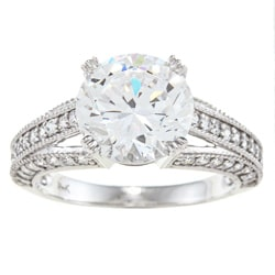 Alyssa Jewels 14k White Gold 3ct TGW Clear Cubic Zirconia Engagement-style Ring