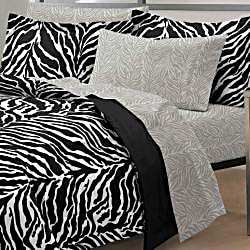 Zebra Black/White 7-piece Bed-in-a-Bag with Sheet Set