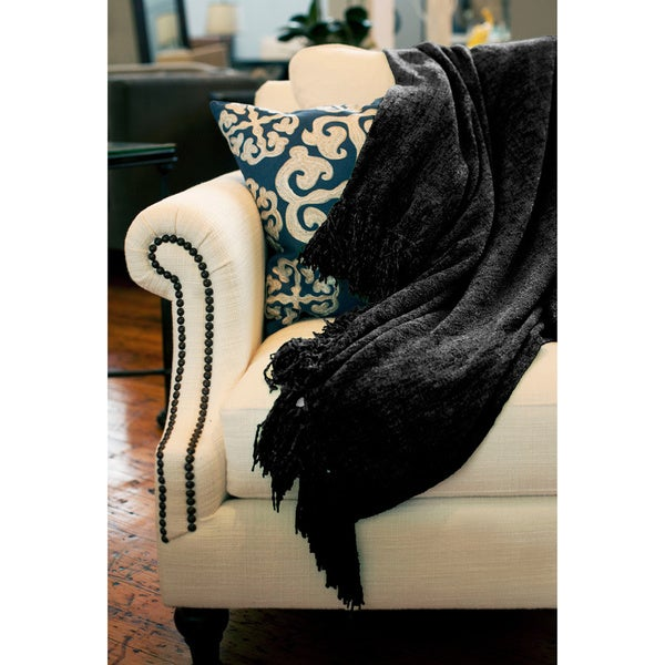 Susan Luxury Black Chenille Throw with Fringe
