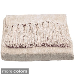 Susan Luxury Cream Chenille Throw with Fringe