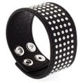 Nexte Jewelry Black Leather Silvertone Stud Bracelet