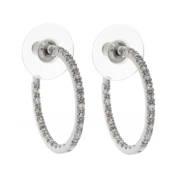 Nexte Jewelry Silvertone Double Sided Stone Hoop Earrings