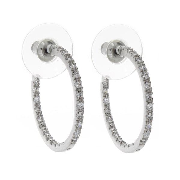 Nexte Jewelry Silvertone Double Sided Stone Hoop Earrings