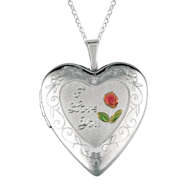 Sterling silver heart shaped 39 i love you 39 locket necklace for L love jewelry reviews