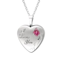 Sterling Silver Heart Shaped 'I love you' Locket with Rose Necklace