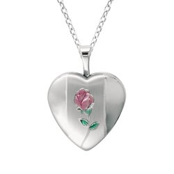 Sterling Silver Heart Shaped Locket with Rose Necklace