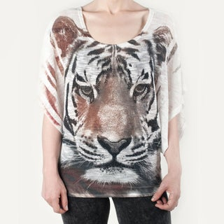 Tabeez Women's Rhinestone Tiger Sweater