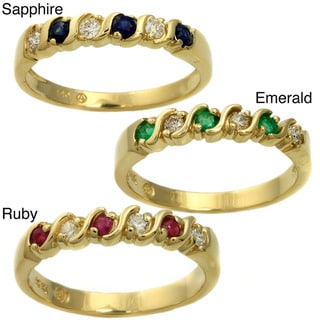 Beverly Hills Charm 14k Gold Gemstone and 1/10ct TDW Diamond Anniversary Band Ring (H-I, SI2-I1)