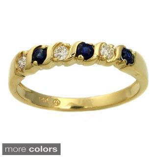 Beverly Hills Charm 14k Gold Gemstone and 1/10ct TDW Diamond Anniversary Band Ring (H-I, SI2-I1)