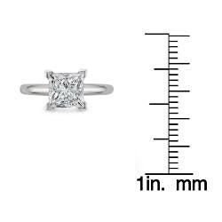 14k White Gold 2ct TDW Princess Cut Solitaire Diamond Ring (G-H, SI1-SI2)
