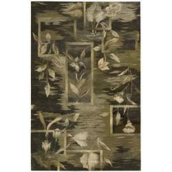 Nourison Hand-tufted Reflections Black Wool Rug (5'6 x 8'6)