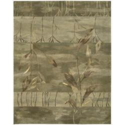 "Casual Nourison Hand-Tufted Reflections Green Wool Rug (8'6"" x 11'6"")"