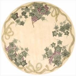Nourison Hand-tufted Flower Garden Ivory Wool Rug (7'6 Round)