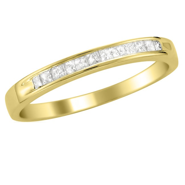 14k Yellow Gold 1/4 ct TDW Princess Cut Diamond Channel Set Wedding Band  (I-J, I2-I3)