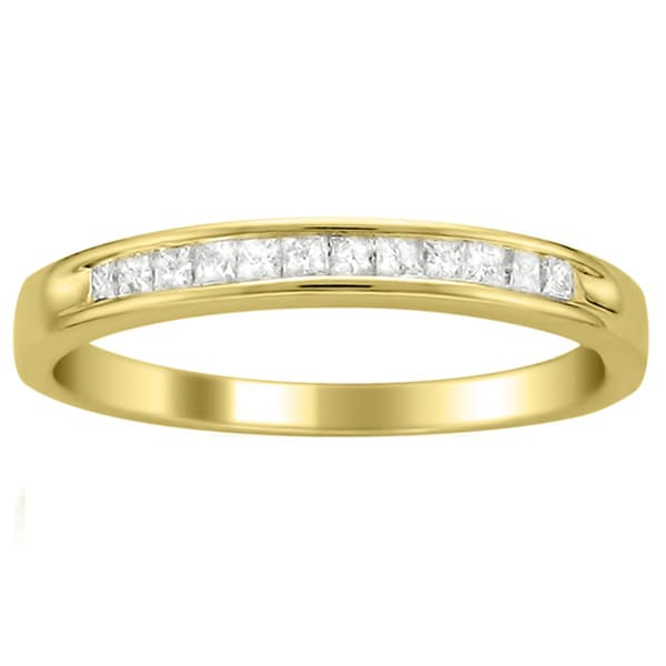 Brides Across America 14k Yellow Gold 1/4 ct TDW Princess Cut Diamond Channel Set Wedding Band (I-J, I2-I3)