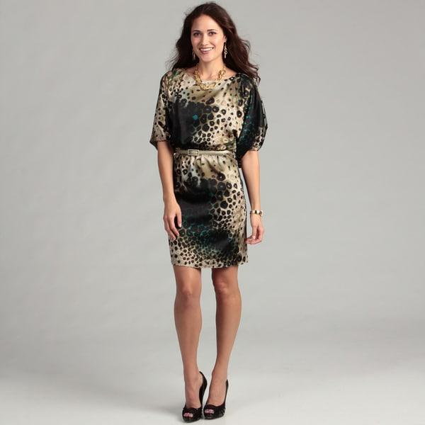 Jessica Howard Women's Olive Animal Print Dress