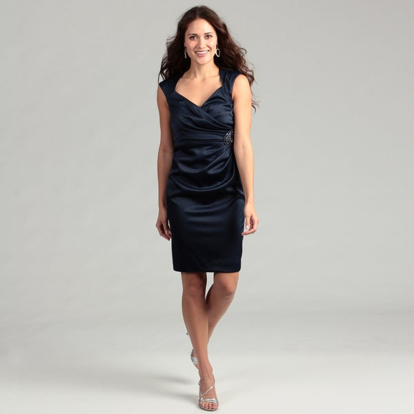 Jessica Howard Women's Navy Beaded Ruched Dress FINAL SALE