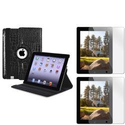 Black Crocodile Leather Swivel Case/ LCD Protector for Apple iPad 2/ 3