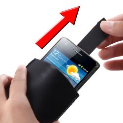 Black Leather Pouch/ Car Charger for Samsung Galaxy S II AT&T i777
