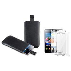 Black Leather Pouch/LCD Protector Accessory Set for Samsung Galaxy S II GT-i9100