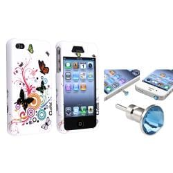 White Autumn Flower Case/ Blue Headset Dust Cap for Apple iPhone 4/ 4S