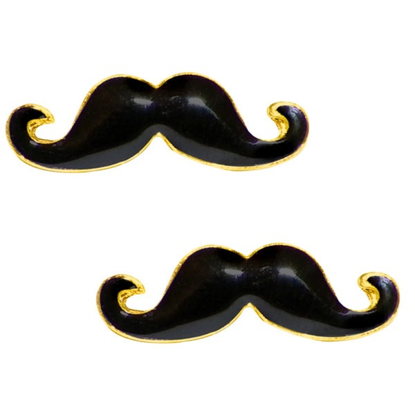 Gold-plated High-polish Black Enamel over Brass Mustache Stud Earrings