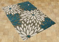 Alliyah Handmade Gothic Olive New Zealand Blend Wool Rug (5' x 8')