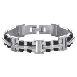 Titanium Men's Black-Tone High-Polish Link Bracelet