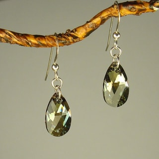 Jewelry by Dawn Sterling Silver Crystal Bronze Pear Earrings