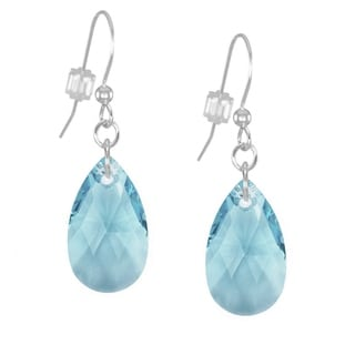 Sterling Silver Teardrop Aquamarine Crystal Pear Earrings