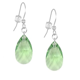 Jewelry by Dawn Sterling Silver Teardrop Green Crystal Pear Earrings