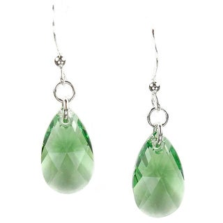Sterling Silver Teardrop Green Crystal Pear Earrings