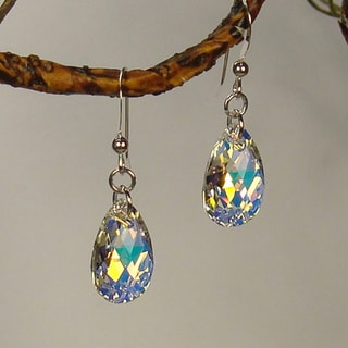Sterling Silver Teardrop Crystal AB Pear Earrings