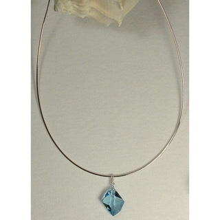 Jewelry by Dawn Sterling Silver Omega Chain Necklace With Aquamarine Crystal Cosmic