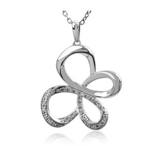 Sterling Silver Diamond Accent Fashion Butterfly Necklace
