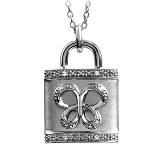 Jessica Simpson Silver Diamond Accent Butterfly Padlock Necklace