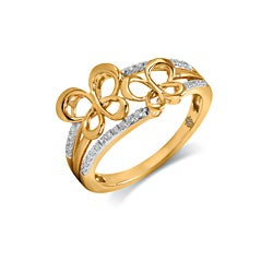 10k Gold 1/7ct TDW Diamond Butterfly Ring