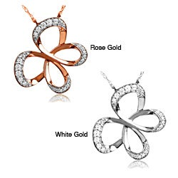 Bridal Symphony 10k Rose or White Gold 1/4ct TDW Diamond Butterfly Necklace