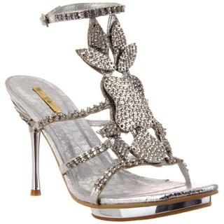 Celeste Women's 'Joyce-08' Silver Rhinestone Shield Heel