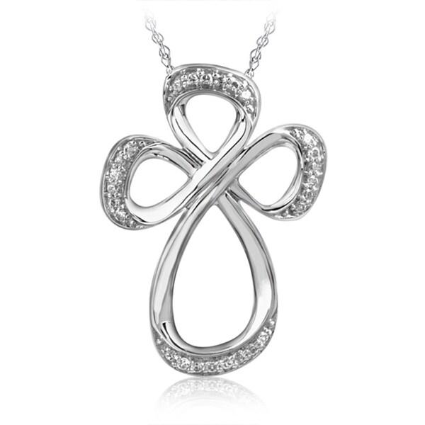 Bridal Symphony 10k White Gold Open Cross 1/10CTtw Diamond Accent Necklace (I-J, I2-I3)