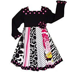 AnnLoren Girls' Floral Zebra Dots Panel Party Dress