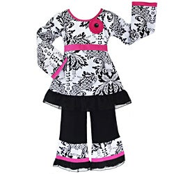 AnnLoren Girls' 2-piece Damask/ Tulle Outfit