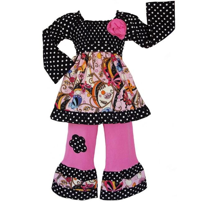 AnnLoren Girls' 2-piece Butterfly/ Dot Outfit