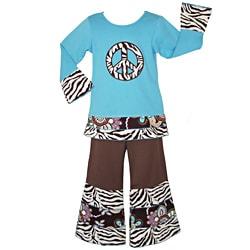AnnLoren Girls' 2-piece Zebra Peace Sign Outfit